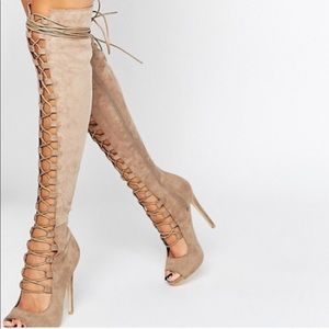 Daisy Street Lace Up Ghillie Over The Knee Boots